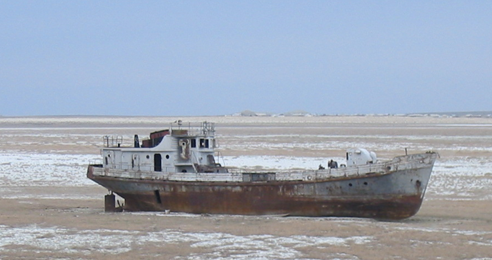 Boat in dry lake